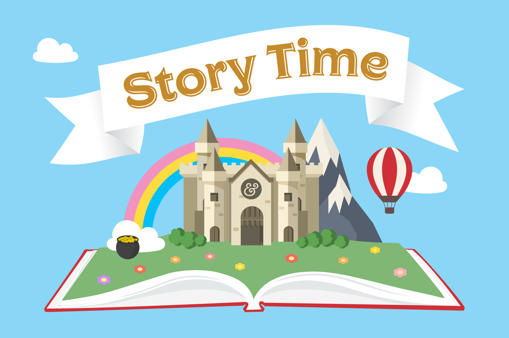 Storytime open book with castle